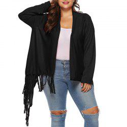 One Button Solid Color Irregular Tassels Cardigan -