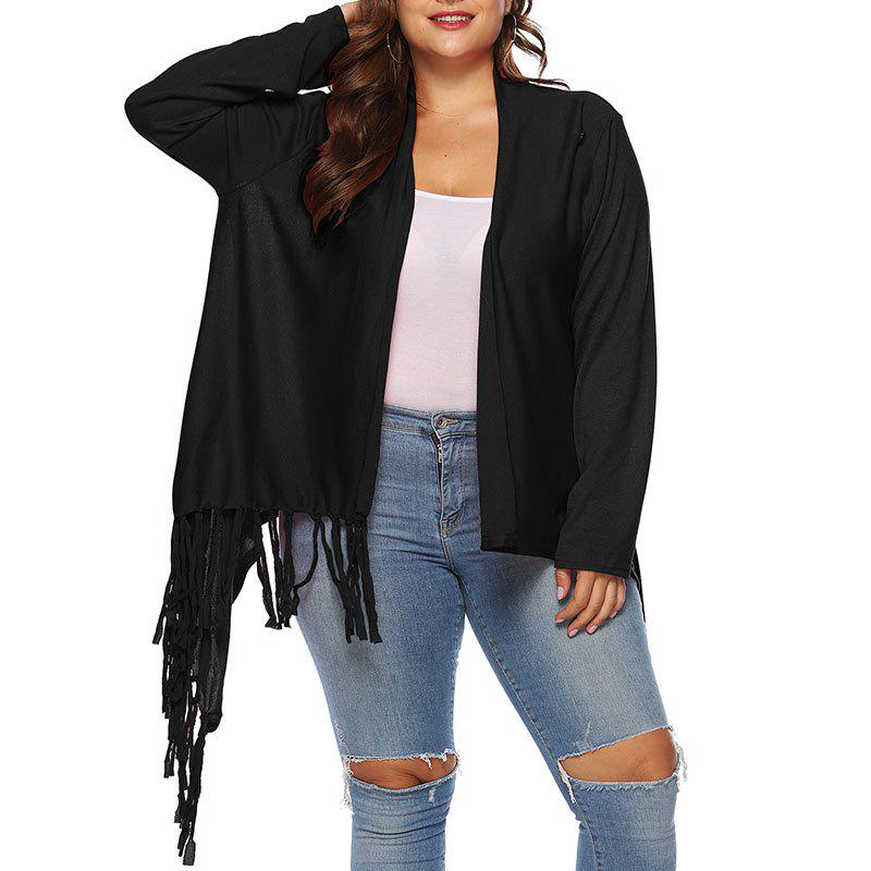 Unique One Button Solid Color Irregular Tassels Cardigan