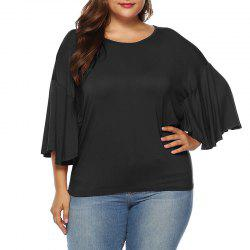 Solid Color Half Sleeve Round Collar Ruffle Sleeve T Shirt -