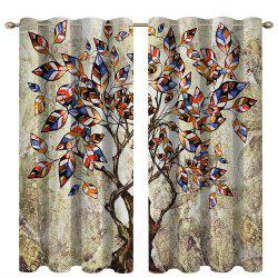 Retro Color Trees Digital Printing High Precision Black Silk Blackout Curtains -