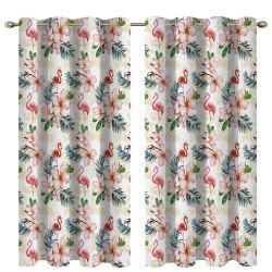 Flower Flamingo 3D Digital Printing High Precision Black Silk Blackout Curtains -