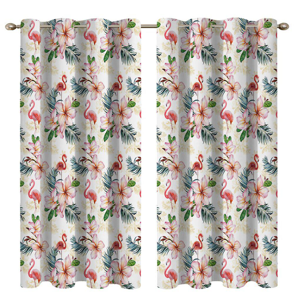 New Flower Flamingo 3D Digital Printing High Precision Black Silk Blackout Curtains