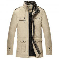 New Men Fashion Full Sleeve Stand Collar Cotton Solid Coat Casual Trench Coat -
