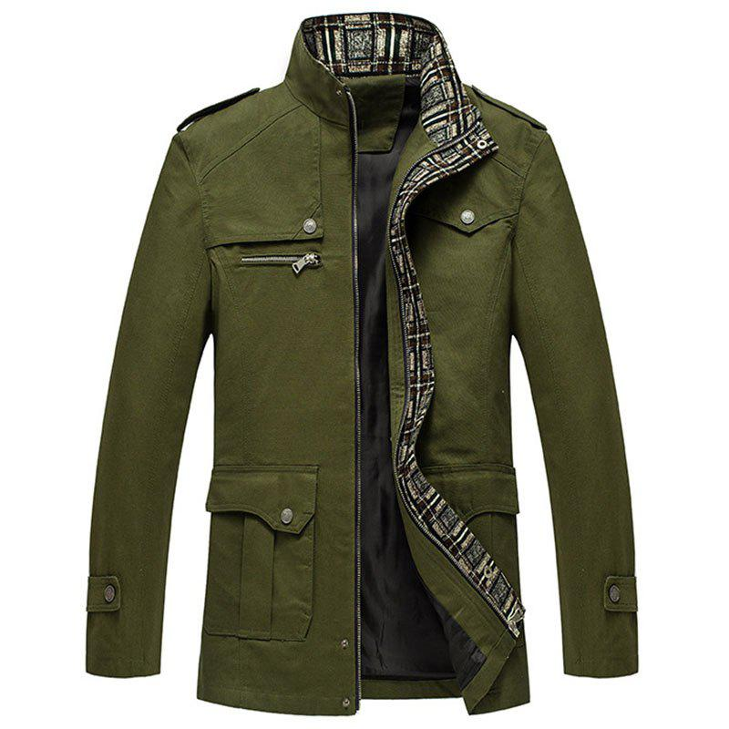 Trendy New Men Fashion Full Sleeve Stand Collar Cotton Solid Coat Casual Trench Coat