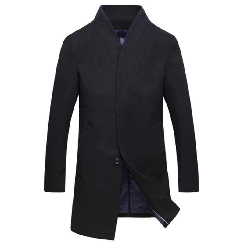 Sale New Men Fashion Slim Full Sleeve Stand Collar Long Coat Casual Outwear