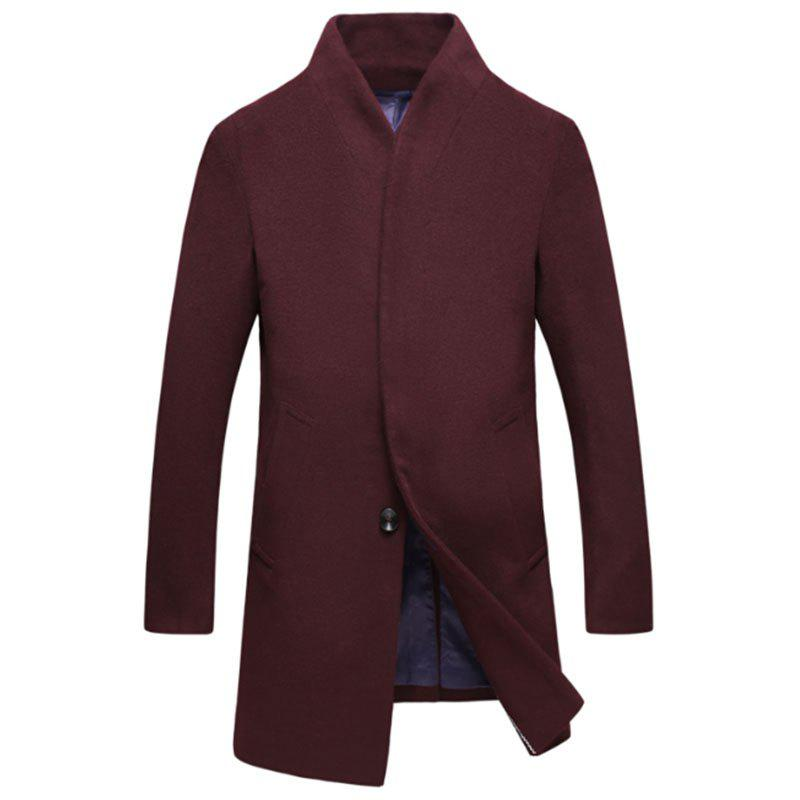 Shops New Men Fashion Slim Full Sleeve Stand Collar Long Coat Casual Outwear