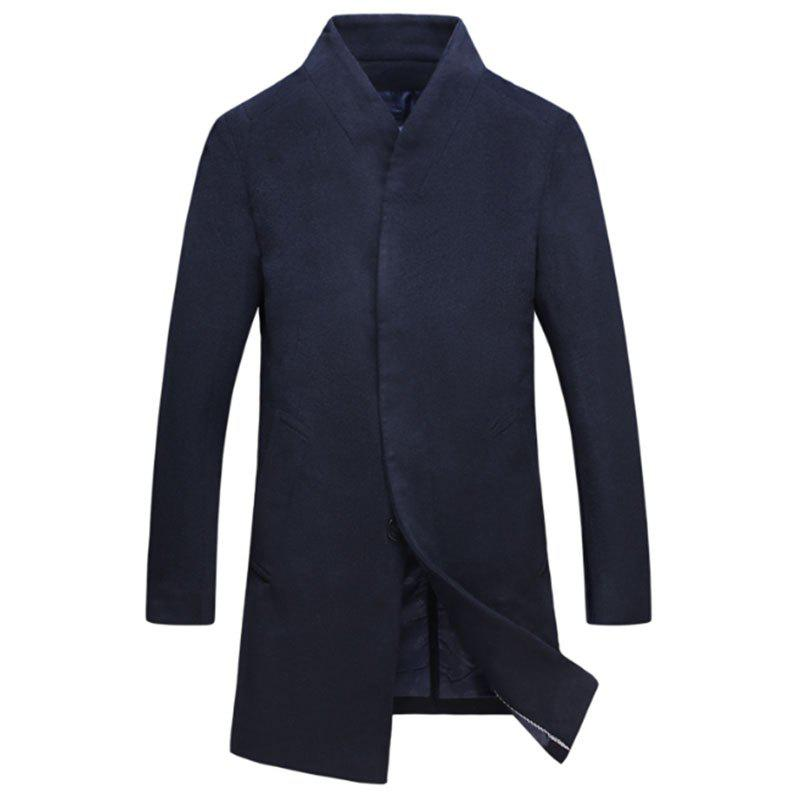 Affordable New Men Fashion Slim Full Sleeve Stand Collar Long Coat Casual Outwear