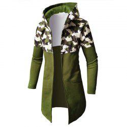 Men Patchwork Camouflage Long Cardigan Hooded Male Fashion Hoodie -