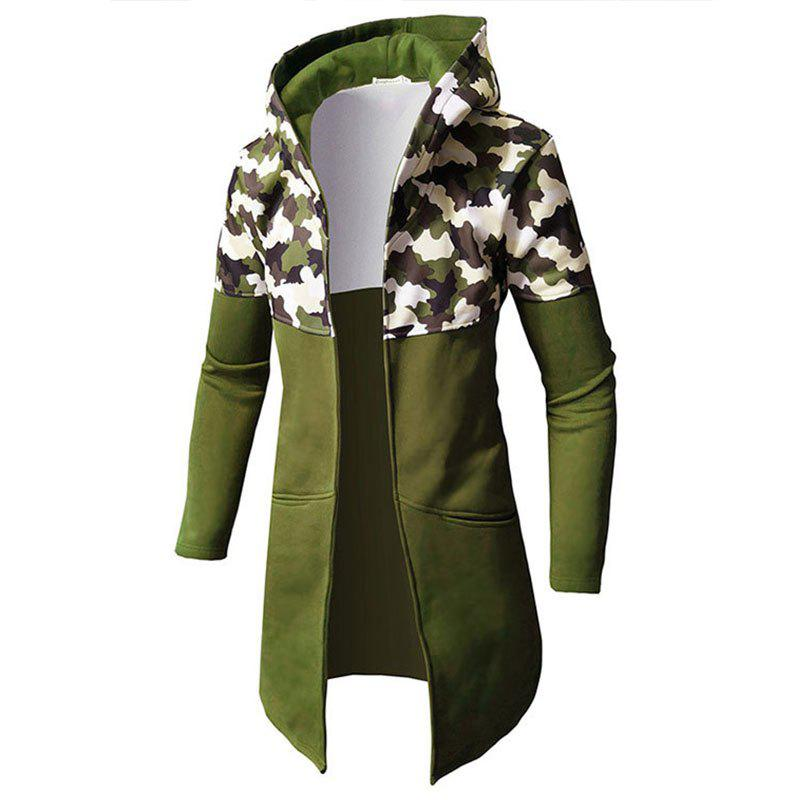 Online Men Patchwork Camouflage Long Cardigan Hooded Male Fashion Hoodie