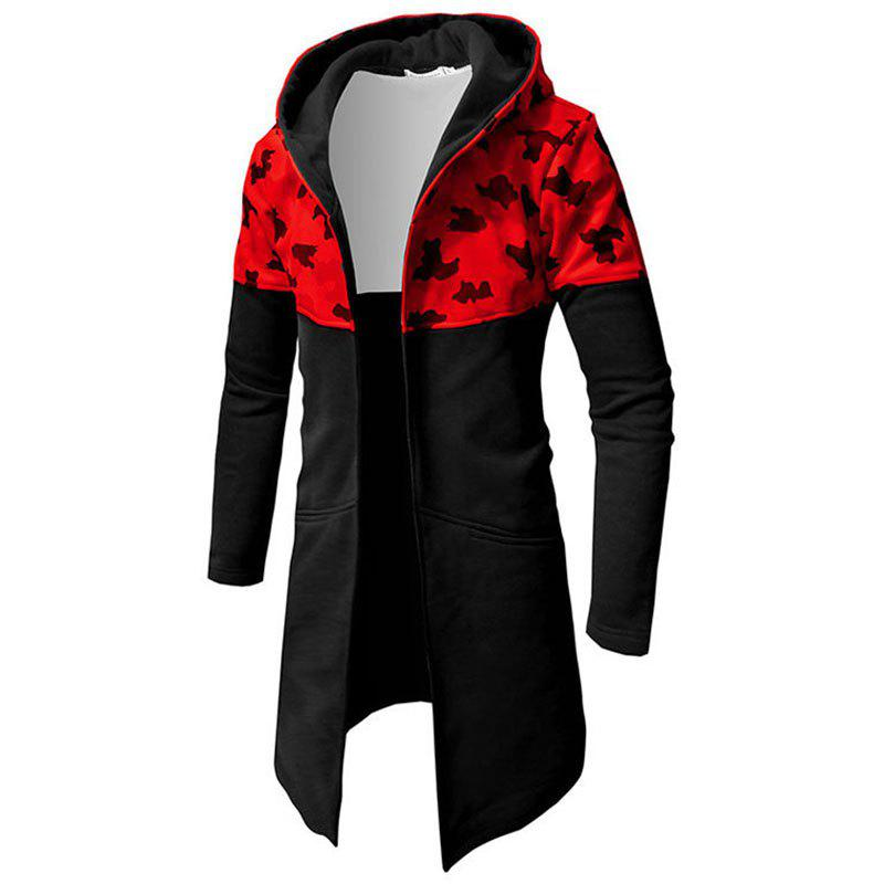 Buy Men Patchwork Camouflage Long Cardigan Hooded Male Fashion Hoodie