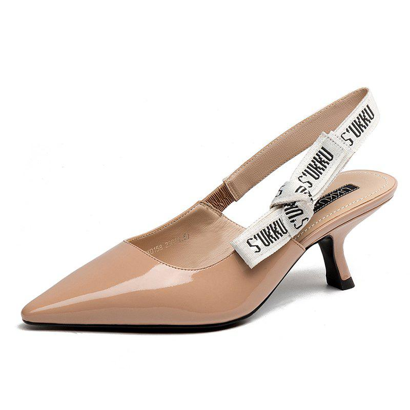 Fancy Women with Patent Leather Sandals in A Pointed Bow