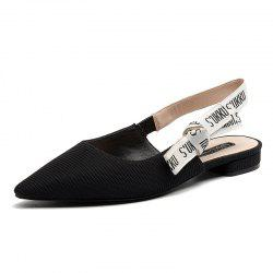 Pointed Patent Flat Leather Sandals -
