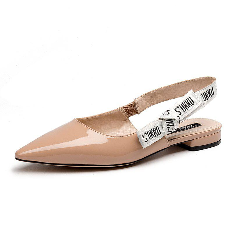 Chic Pointed Patent Flat Leather Sandals