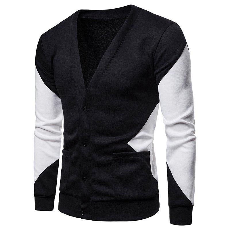 Chic Color Patchwork Men's Sweater Cardigan