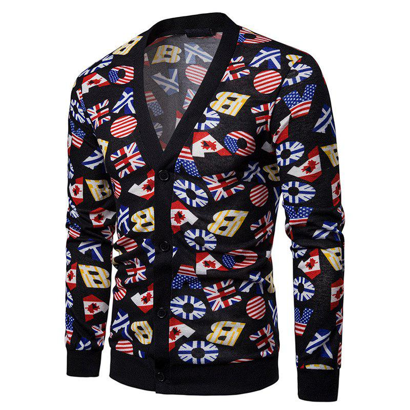 Online Color Patchwork Men's Sweater Cardigan