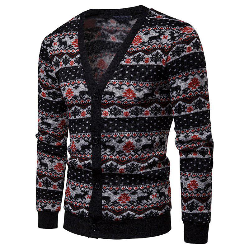 Store Color Patchwork Men's Sweater Cardigan