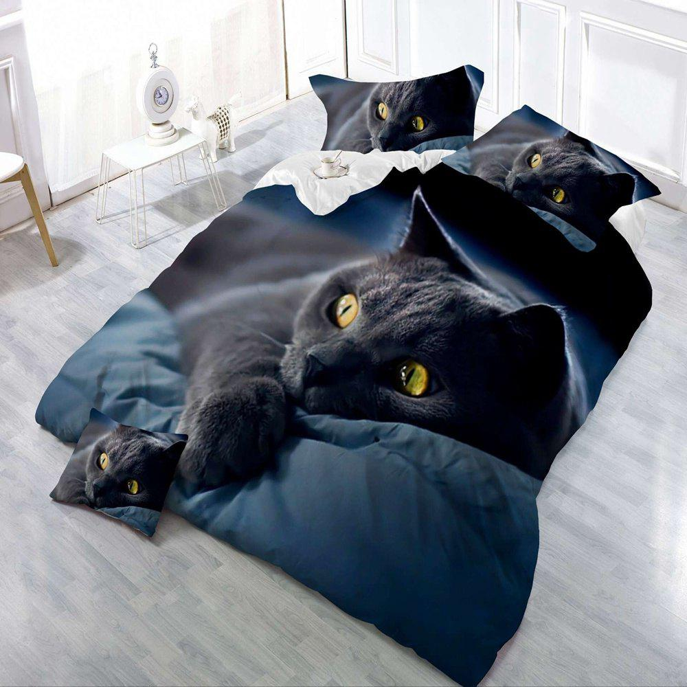 Housse de couette Co ensemble de literie confortable d'impression de chat noir 3D