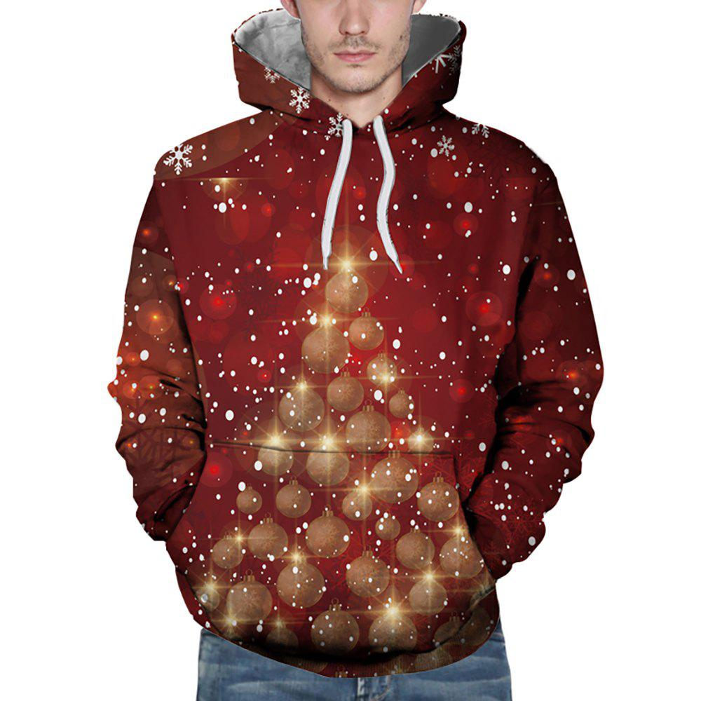 Fancy 3D Winter Sports Snowflake Christmas Ball Print Mens Hoodie