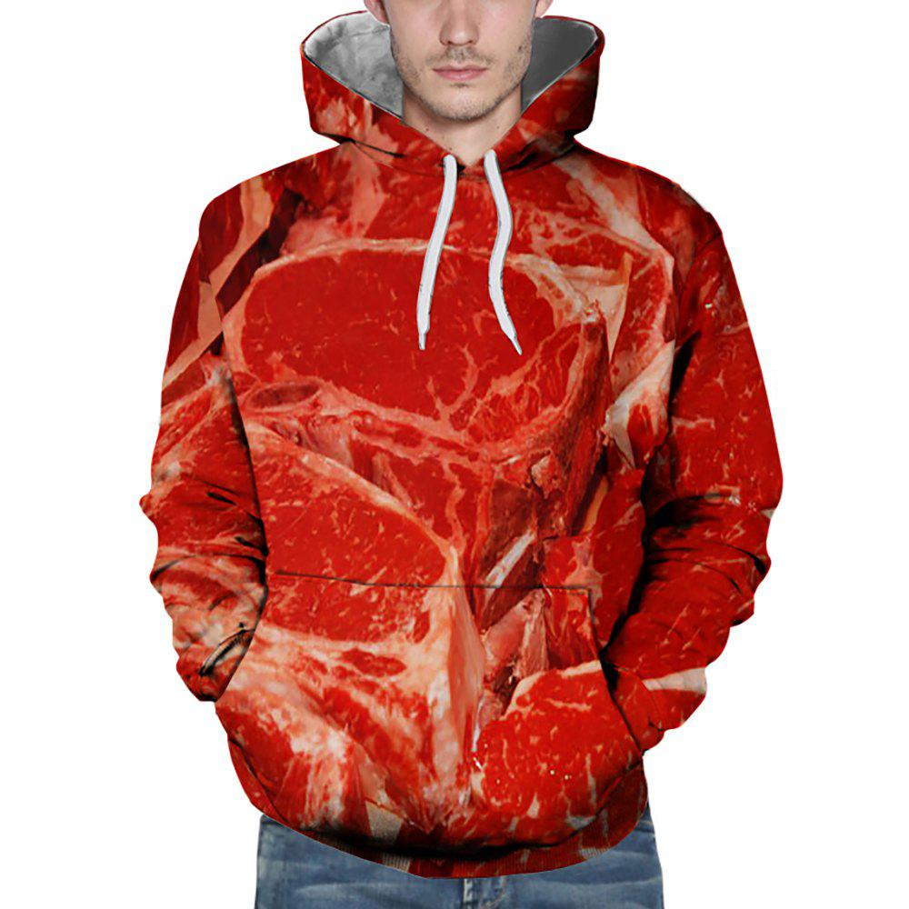 Buy 3D Winter Sports Fashion Lean Meat Print Mens Hoodie