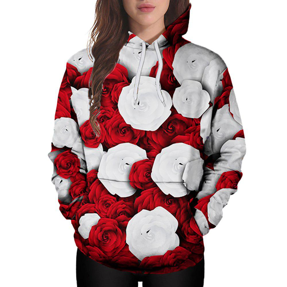 340289c00 28% OFF] 3D Winter Sports Red And White Rose Print Ladies Hoodie ...