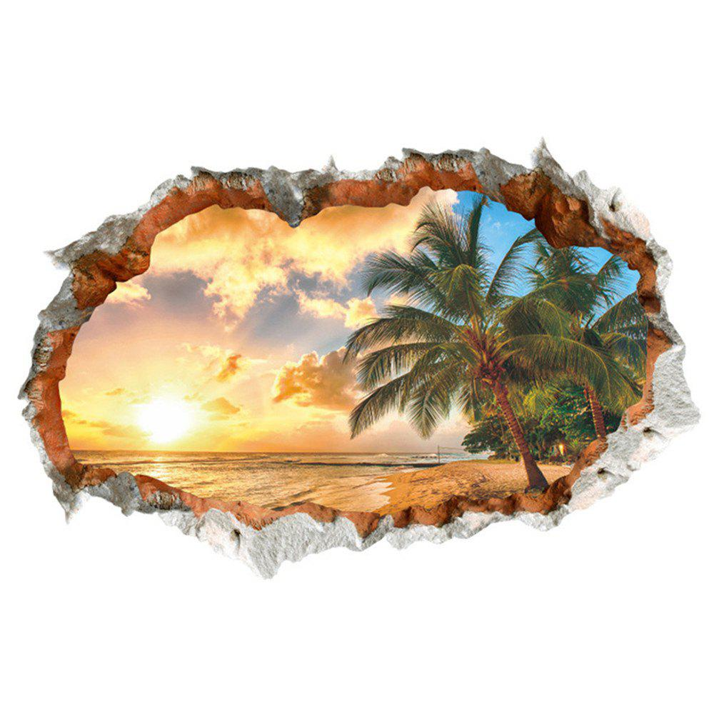 3D Broken Wall Sunset Scenery Seascape Island Coconut Trees Household Adornment
