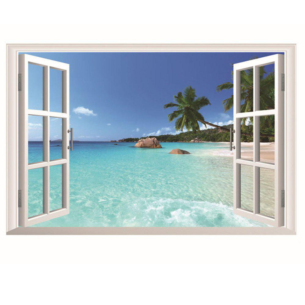 Best PVC Huge Hawaii Sea View Removable Beach Sea 3D Window Scenery Wall Sticker