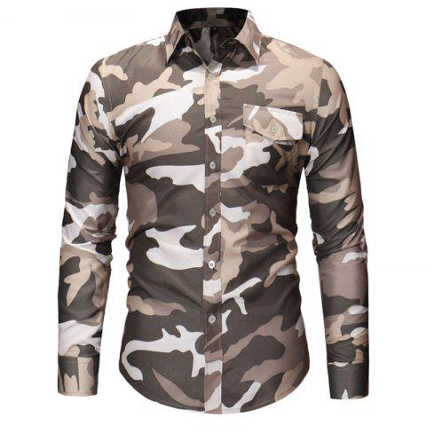 Men's Fashion Camouflage Long Sleeved Pocket Casual Shirts