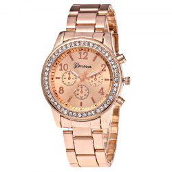 Women Luxury Crystals Quartz Plated Classic Faux Chronograph Watch -
