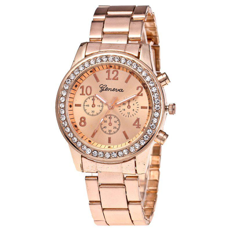 Hot Women Luxury Crystals Quartz Plated Classic Faux Chronograph Watch