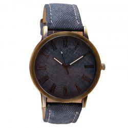 Fashion Rome Number Clock Dial Student Leisure Denim Strap Quartz Watch -