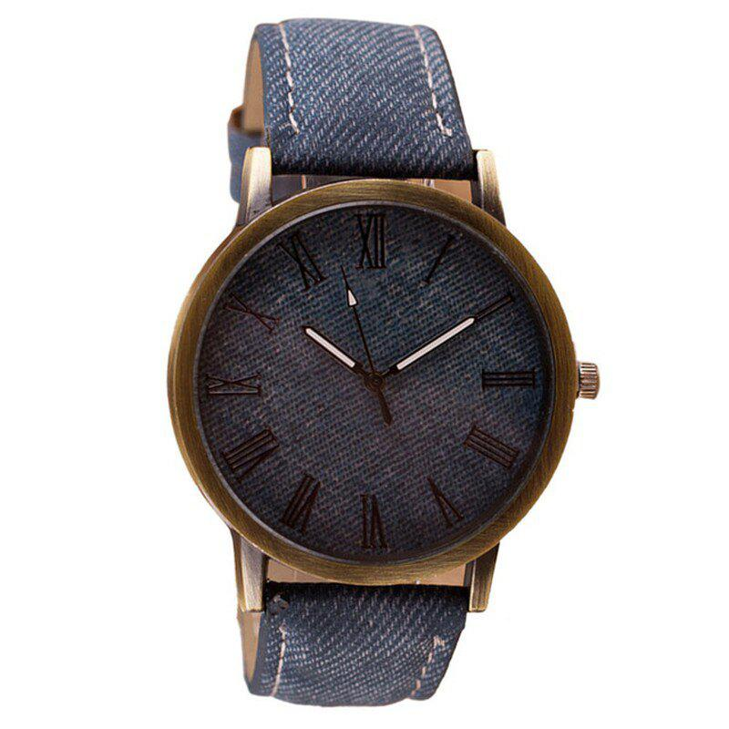 Affordable Fashion Rome Number Clock Dial Student Leisure Denim Strap Quartz Watch