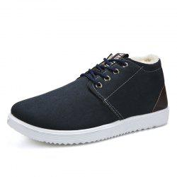 Man and Cotton Shoes To Keep Warm in Winter -