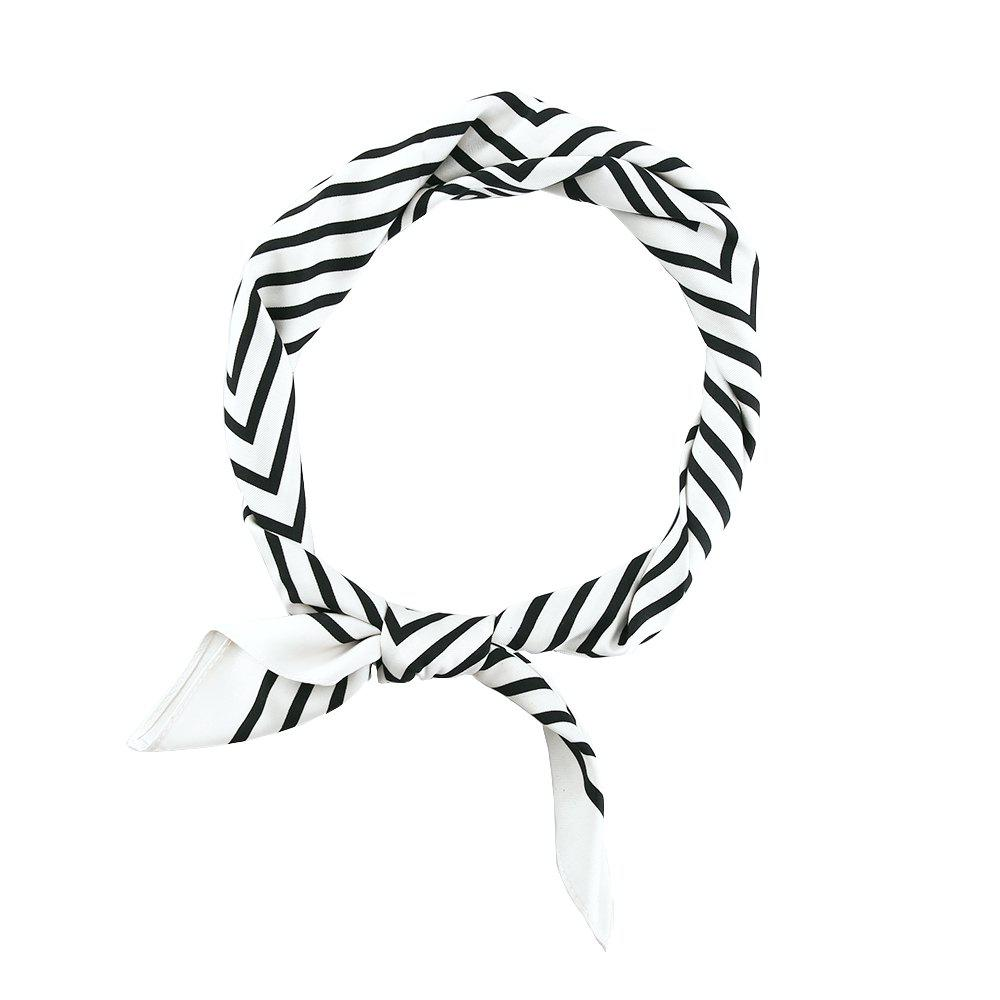 Black and White Striped Silk Scarf with Cardamom Elements 70x70
