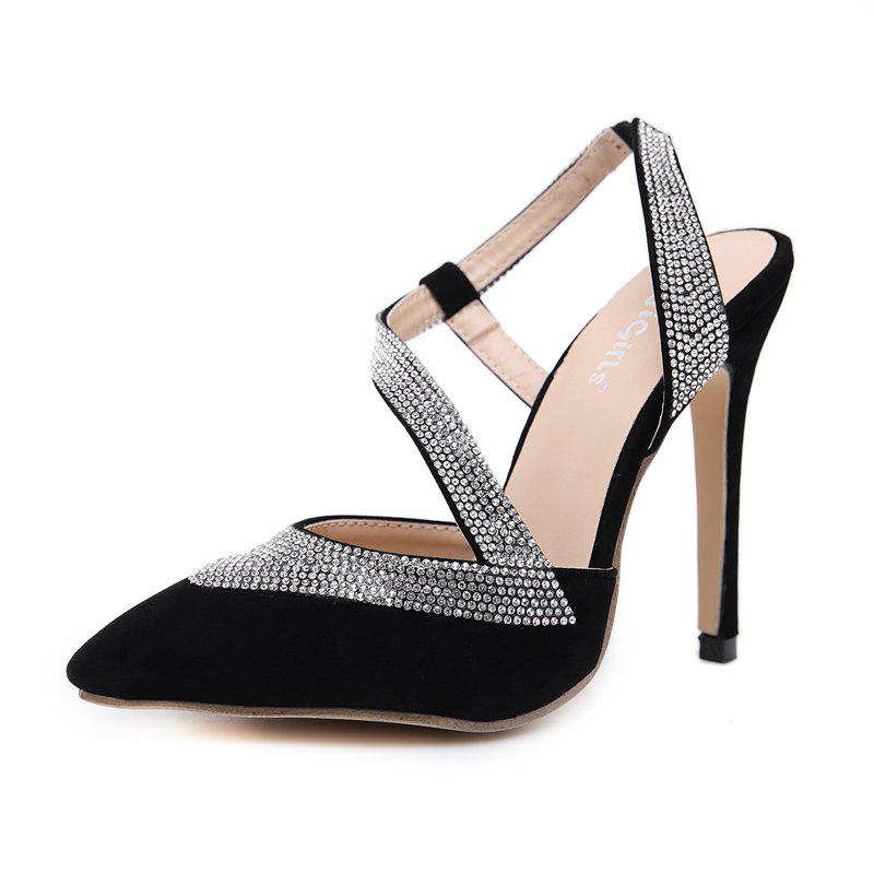 7178ea9d286c3 Women s Pointed Toe Stiletto Sling Back Shoes Club Party Pumps with  Rhinestone - Eu 39
