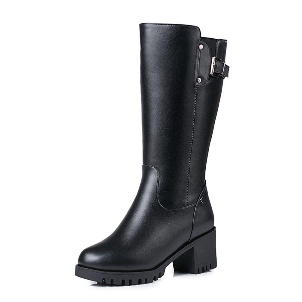 Trendy Wbzao Leather Wool Large Size Middle Tube Boot Women with Coarse and  Velvet Skin 1ffb8d9ae999