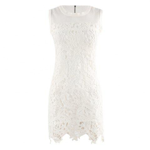 HAODUOYI Women's Sweet and Delicate Lace Perspective Dress White