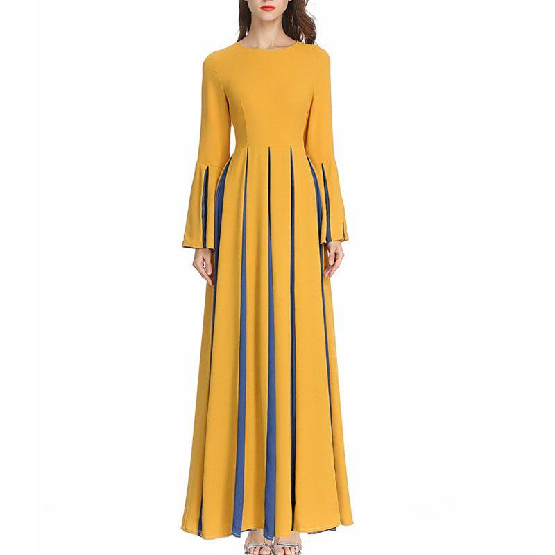 New Spring and Autumn Women'S New Splicing Slim Pleated Maxi Dress