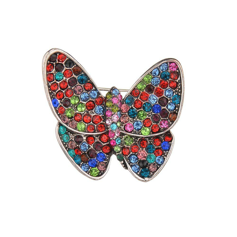 New Vintage Multicolor Diamond Butterfly Brooch