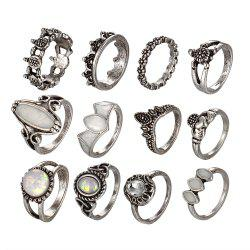 Vintage Carved Exaggerated Gem Turtle 12 Pieces Rings -