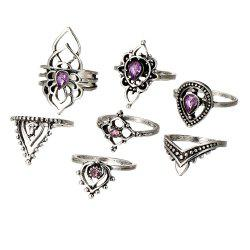 Vintage Hollow Purple Crystal 7 Pieces Rings -