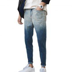 Men's Jeans Slim Casual Gradient Color Zipper Denim Pencil Pants -