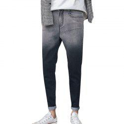 Jeans pour hommes Slim Casual Gradient Color Zipper Denim Pencil Pants -