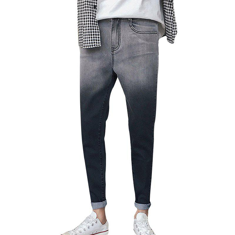 Sale Men's Jeans Slim Casual Gradient Color Zipper Denim Pencil Pants