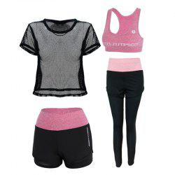 Outdoor Sports Running Fitness Short-Sleeved Four-Piece Suit -