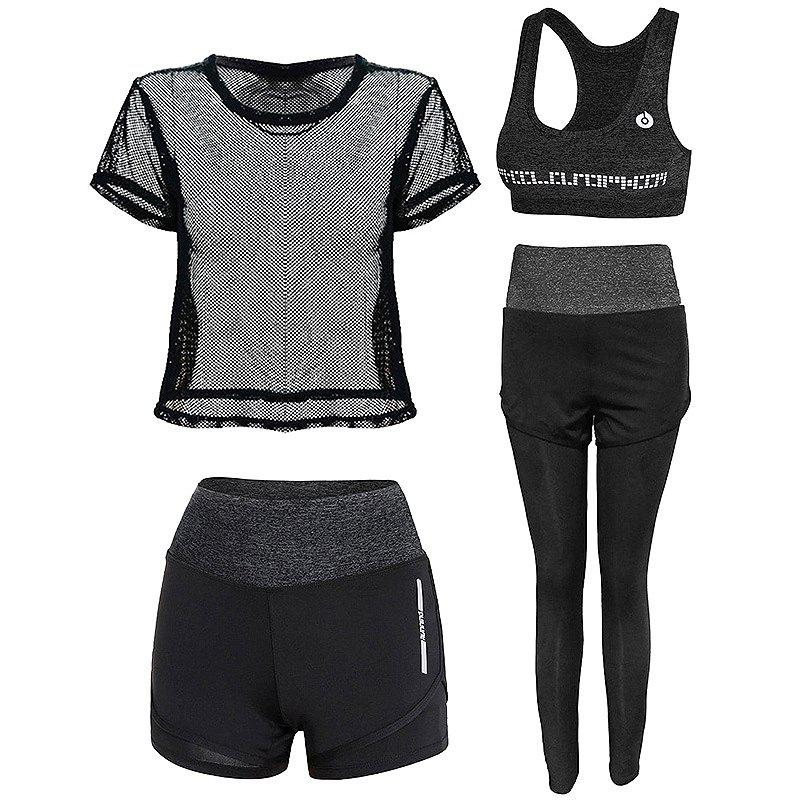 Outfit Outdoor Sports Running Fitness Short-Sleeved Four-Piece Suit
