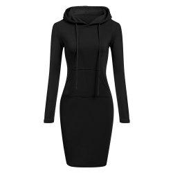 Hooded Hoodie Dress For Women 2018 Autumn Winter Fleece Solid Hoodies With Pocke -