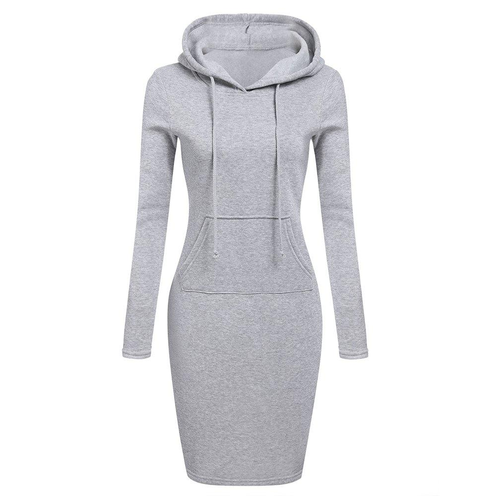 Cheap Hooded Hoodie Dress For Women 2018 Autumn Winter Fleece Solid Hoodies With Pocke