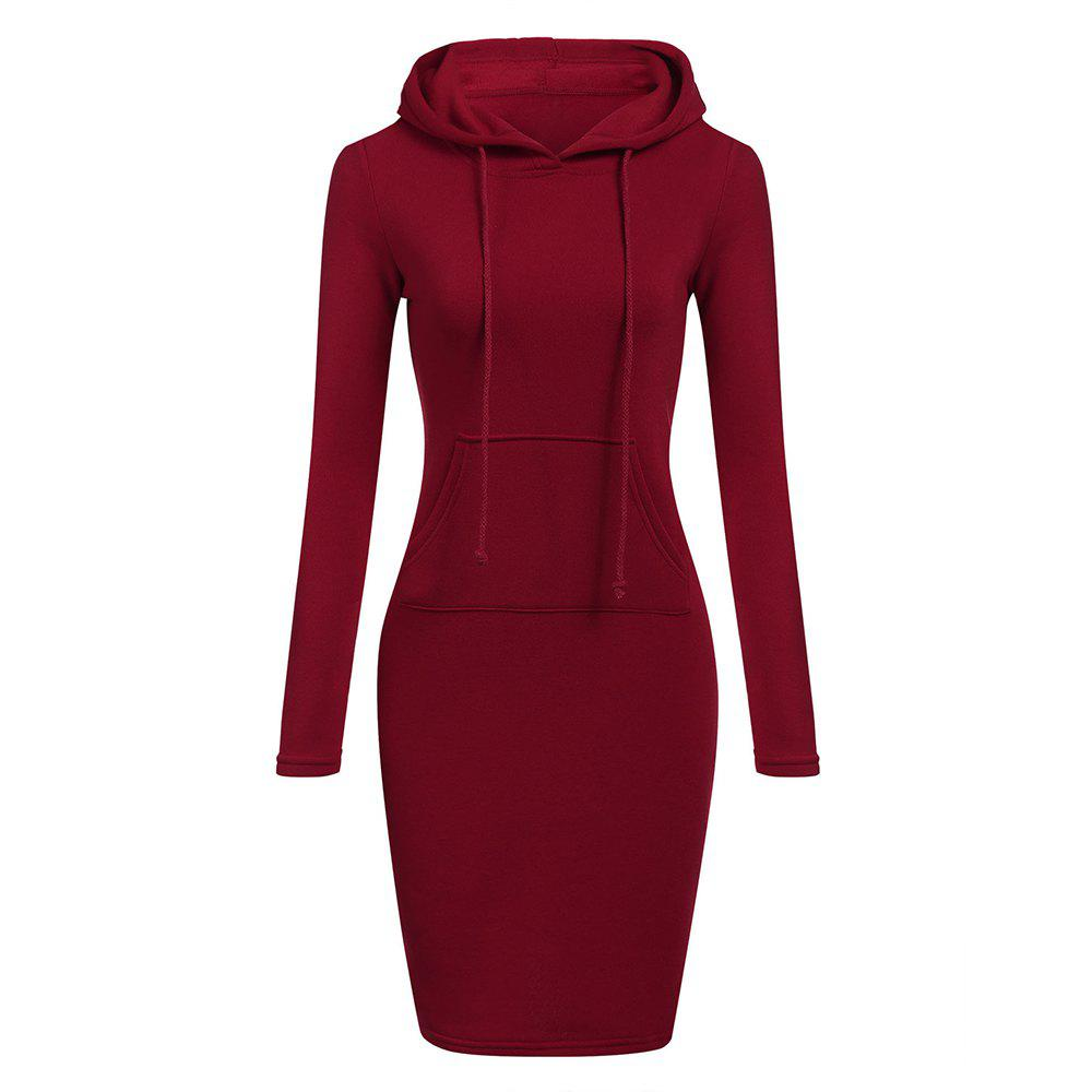 Discount Hooded Hoodie Dress For Women 2018 Autumn Winter Fleece Solid Hoodies With Pocke
