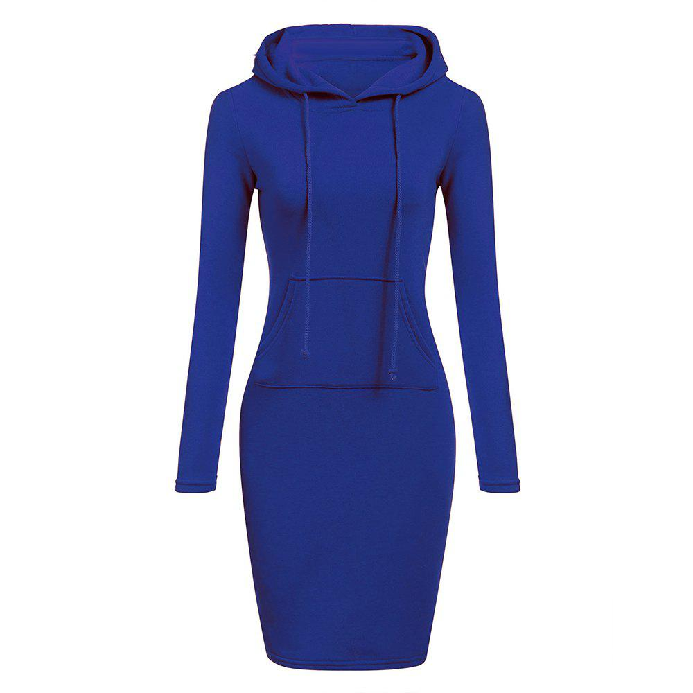 Unique Hooded Hoodie Dress For Women 2018 Autumn Winter Fleece Solid Hoodies With Pocke