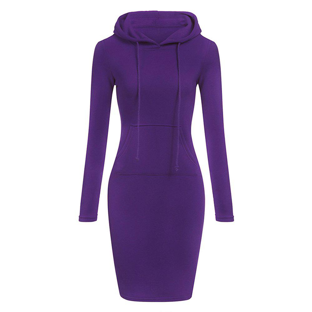 Hot Hooded Hoodie Dress For Women 2018 Autumn Winter Fleece Solid Hoodies With Pocke